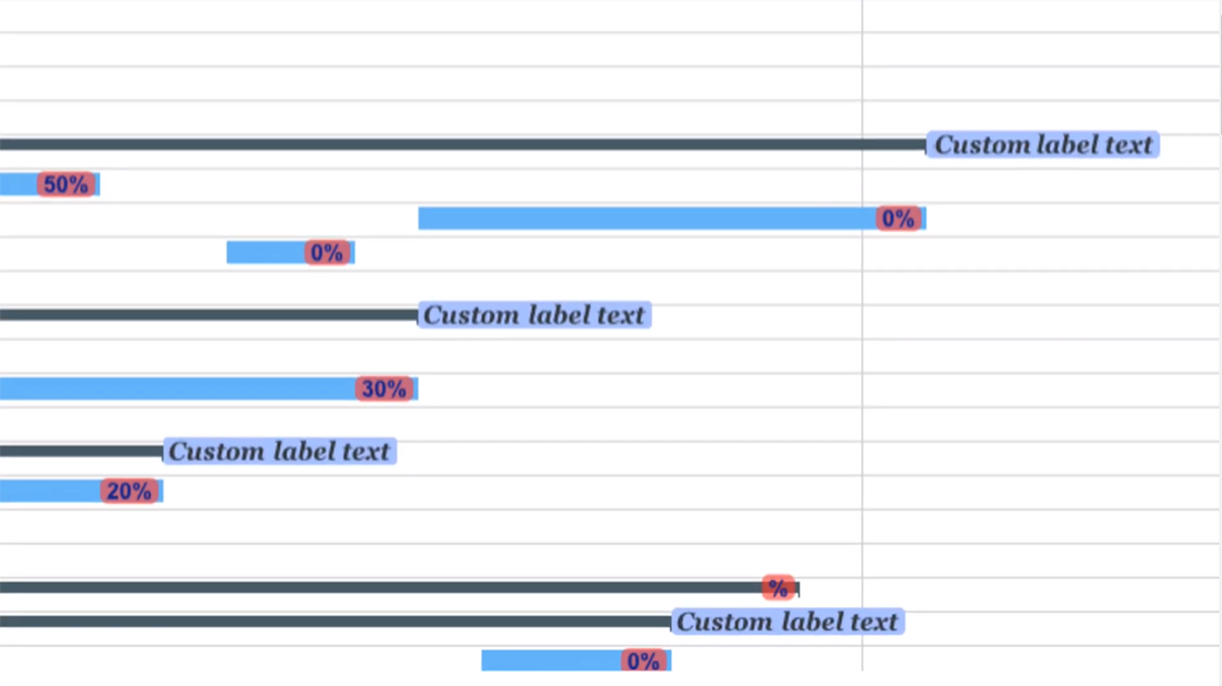 Zoomed in Gantt chart with customized labels